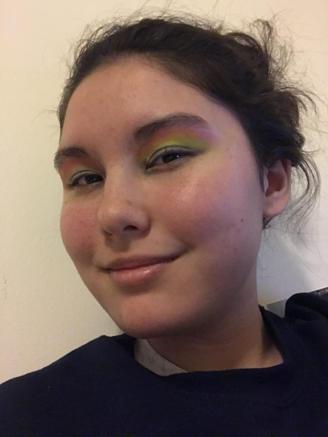 "For my week's final look, I created my rendition of a rainbow through ""Flaming Hot,"" ""Food Videos,"" ""Conspiracy,"" ""What's the Tea?,"" ""Spiraling"" and ""Illuminatea."""