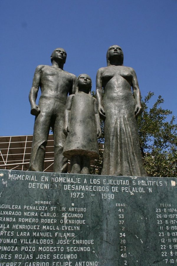 A statute commemorating the politicians who were executed or disappeared during military rule. Written below is their name, age, and date of death. Two of the names visible belong to two year old children.