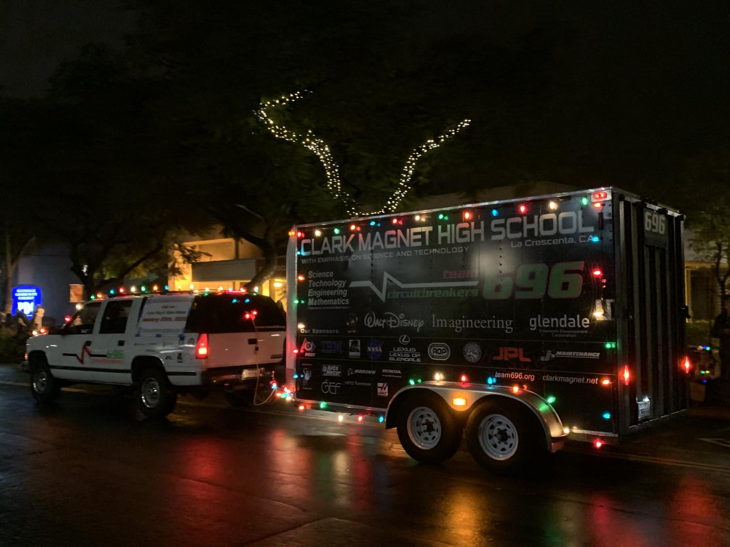 The Clark Truck decorated in Christmas lights that was used to store the robots that were showcased.