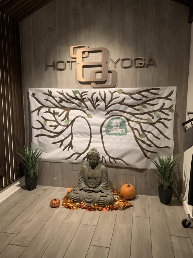 The entrance of the studio is decorated with calming objects.