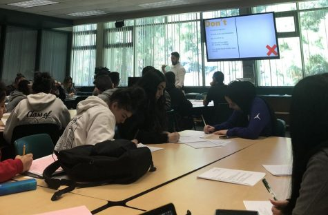 During the presentation, many seniors took notes to use the tips given in the presentation to use in their own resumes. The presentation took place in the cybrary.