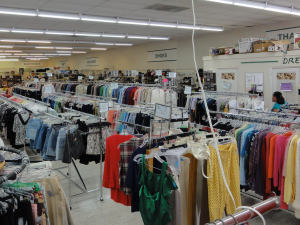 Thrift stores provide communities with ways of buying affordable clothing.