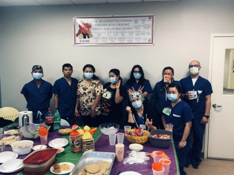 This is LAC+USC Medical Center's Unit 4B's first-ever Halloween potluck.