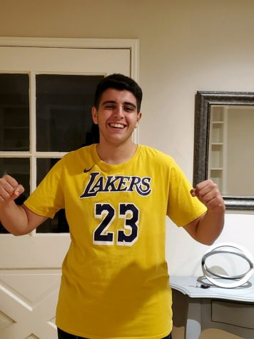 Lakers fan Dion Davoudian celebrates Lakers championship victory.