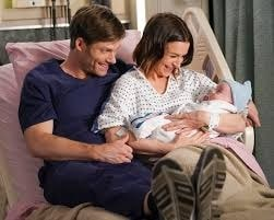 Link( Chris Carmack) and Amelia( Caterina Scorsone) name their baby boy in the season premiere of 'Grey's Anatomy.