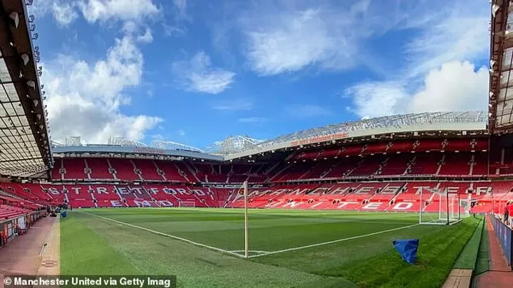 The Manchester United Stadium is empty on a game day during quarantine.