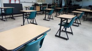 The classes are all empty and are waiting for their students to return for when it is safe.