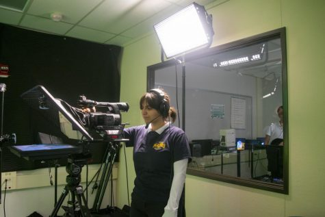 2020-graduated senior Lyanna Babakhanian handles the cameras and audio to help the Broadcast Club.