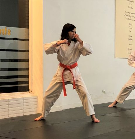 Sophomore Anna Tobey readies her fighting stance during her Orange Belt Test. testing typically happens inside the dojo to measure a student's progress in both the physical and mental aspects of the training.