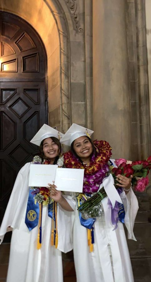 On May 28, seniors salutatorian Kristen Mejia and valedictorian Catherine Alejo of Holy Family High School graduated.