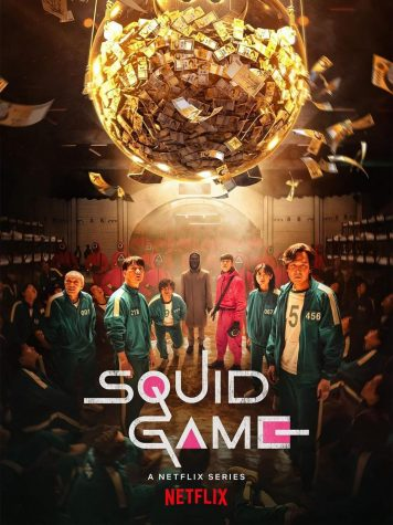 The official series poster for Squid Game featuring its main cast inside the games facility.