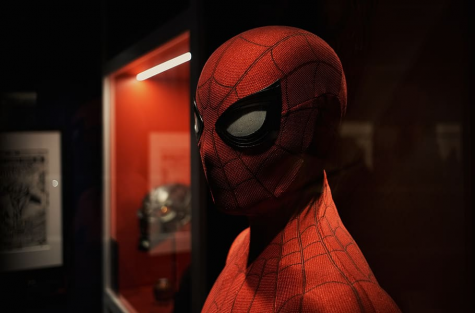 A Spider-Man suit in the Marvel Avengers S.T.A.T.I.O.N. attraction in Las Vegas.